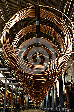 Free Copper Pipe Factory Royalty Free Stock Photo - 37882455