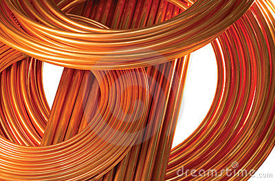 Copper Pipes isolated on white