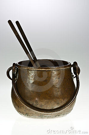 Copper pot with chopsticks