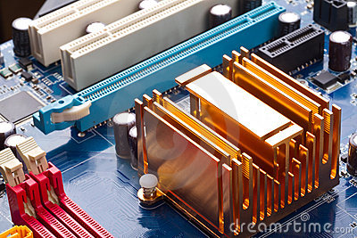 Copper radiator on motherboard
