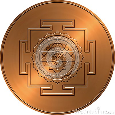 Free Copper Shree Yantra Design Royalty Free Stock Images - 34253039
