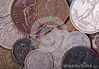Copper and silver old coins background