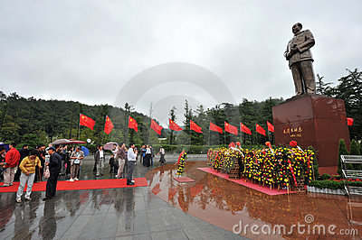 Copper statue of chairman Mao Zedong on October 1, Editorial Stock Photo