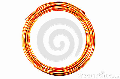 Copper Tubing on white background