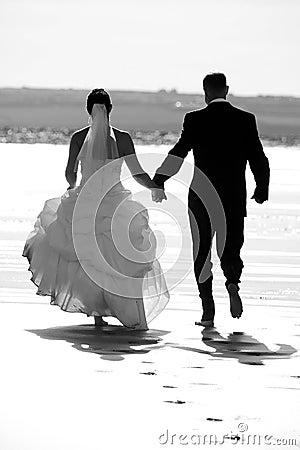 Coppia sposata che funziona insieme