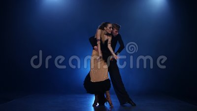 Coppie ballanti della salsa i ballerini eleganti professionisti in studio fumoso archivi video