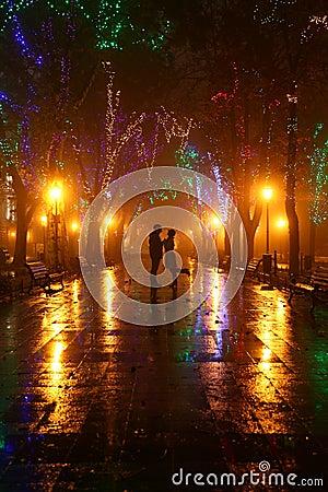 Coppie che camminano al vicolo agli indicatori luminosi di notte