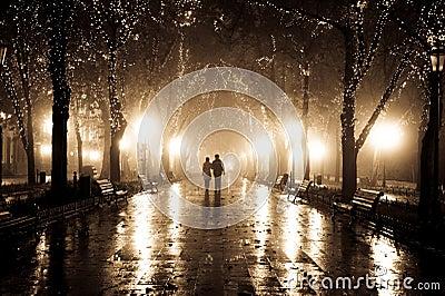 Coppie che camminano al vicolo agli indicatori luminosi di notte.