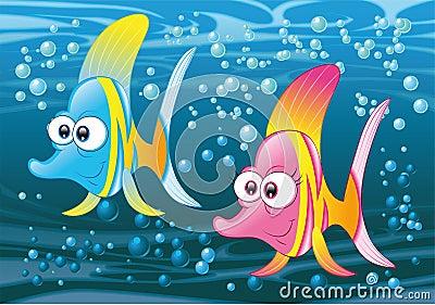 Coppie dei pesci nell oceano