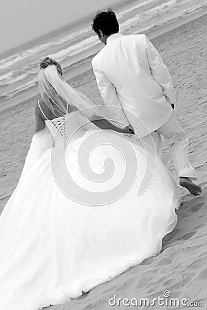 Coppie di cerimonia nuziale alla spiaggia