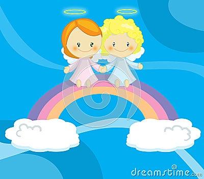 Coppie di piccoli angeli svegli