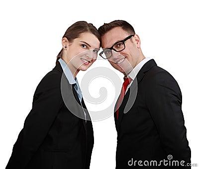 Coppie felici di affari