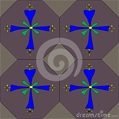 Coptic cross seamless tile pattern