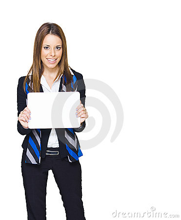 Copy Space Sign Woman On White Background