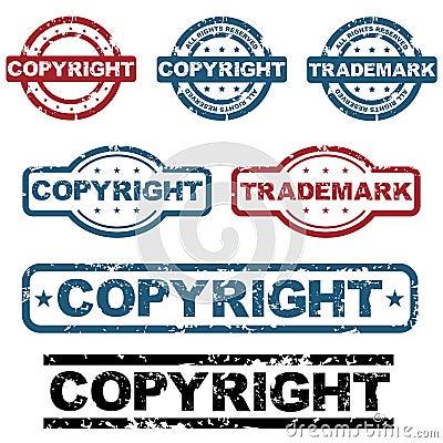 Copyright grunge stamps