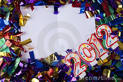 Copyspace with confetti and year 2012 candles
