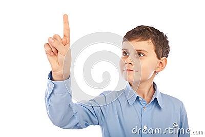 Copyspace som pekar schoolboyen till