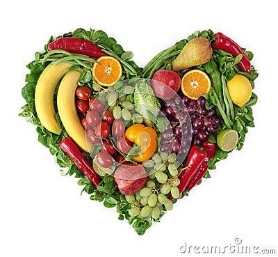 Coração das frutas e verdura