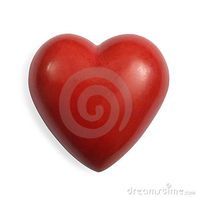 Coração de pedra vermelho isolado