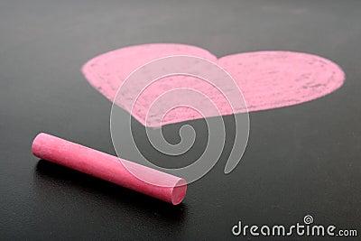 Coração desenhado no giz