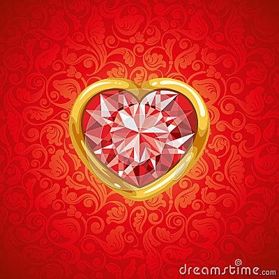 Coração do rubi no frame dourado