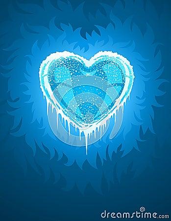 Coração gelado frio azul