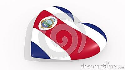 Coração nas cores e nos símbolos de Costa Rica no fundo branco, laço ilustração royalty free