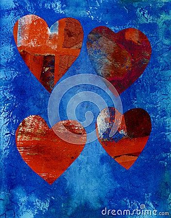 Corações da colagem