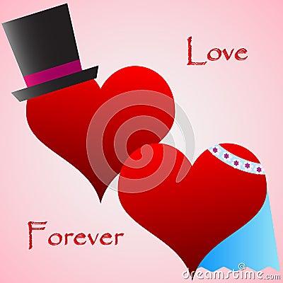 Corações do casamento com decoração