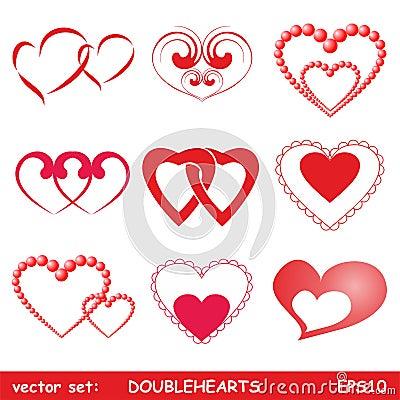 Corações dobro ajustados