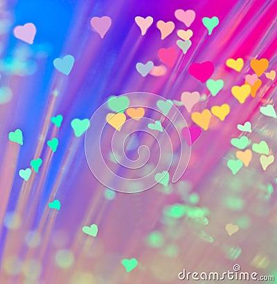 Corações no fundo colorido