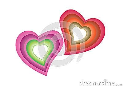 Corações coloridos - vetor