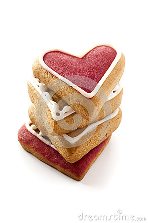 Corações do gengibre para o dia de Valentim.