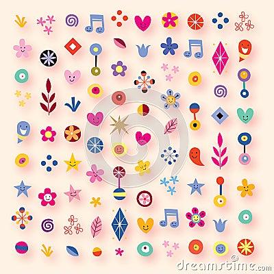 Corações, estrelas e flores dos desenhos animados
