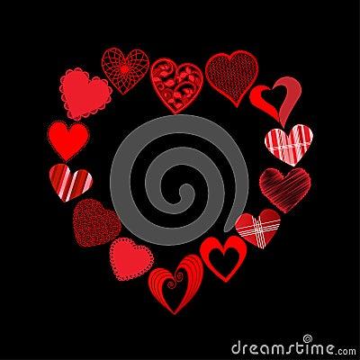 Corações na forma do coração