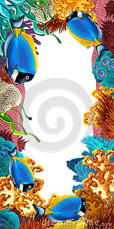 The coral reef frame border illustration for the children stock - The Coral Reef Frame Border Illustration For The