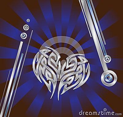 Coração azul de prata