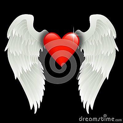 Coração com asas do anjo
