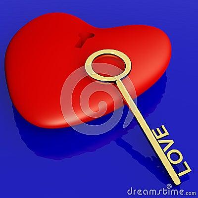 Coração com a chave que mostra o romance do amor