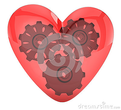 Coração e engrenagens transparentes