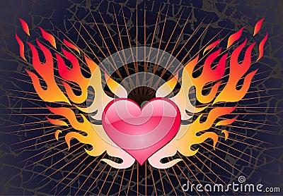 Coração em uma chama em um fundo escuro