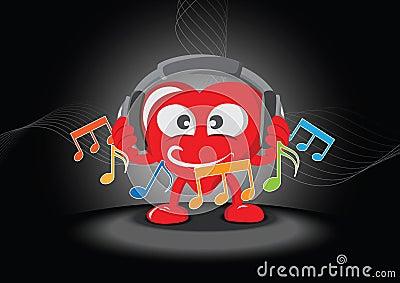 Coração engraçado que escuta a música