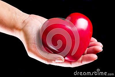 Coração na palma sobre o fundo preto