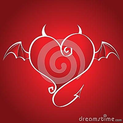 Coração ruim com as moscas das asas e de chifres em uma parte traseira do vermelho