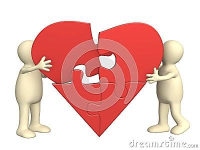 partes del corazon. Fotos de archivo libres de regalías: Corazón de partes de un rompecabezas