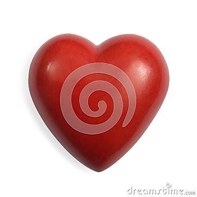 Corazón de piedra rojo aislado