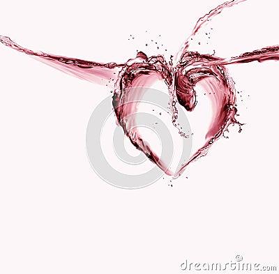 Corazón del agua roja