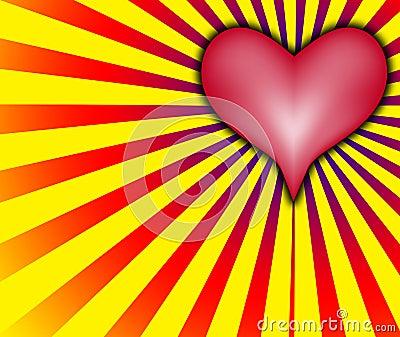Corazón del amor con los rayos rojos y amarillos