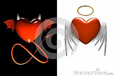 Corazón-diablo rojo y corazón-ángel rojo con las alas aisladas