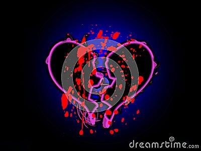 Corazón quebrado manchado sangre
